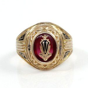 Vintage 1942 10K Gold Ruby High School Ring